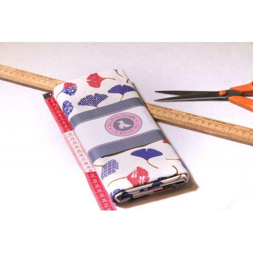 Tissu motif  fleurs Ginkgo