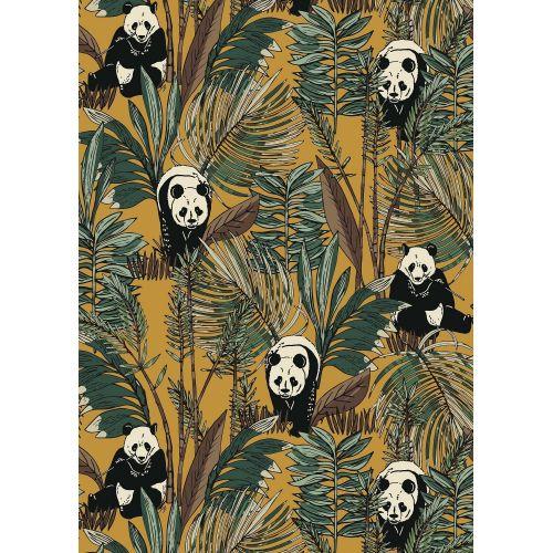 Tissu à motif Panda Bamboo