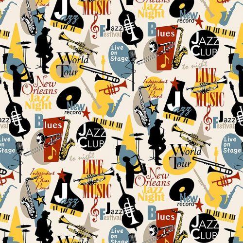 Tissu à motif Musique Jazz